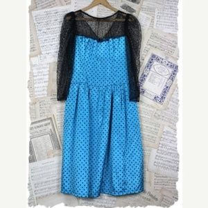 Vintage 80s Velvet/Taffeta PolkaDot Lace Bow Dress